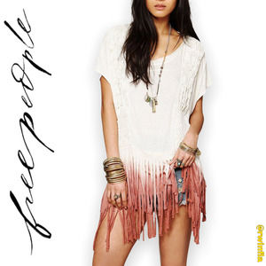 Free People Rough Rider Ombre Tee Fringe Oversized